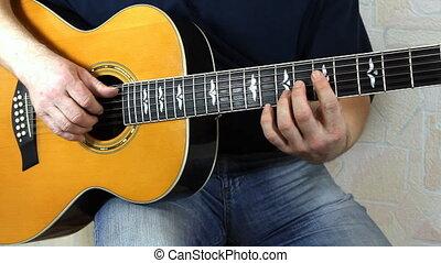 instrument, guitariste, musical, mains