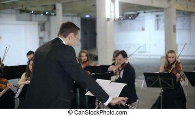 instrument, jeu, orchestre symphonie, conducteur