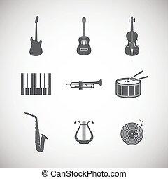 instrument, komplet, muzyczny, ikony