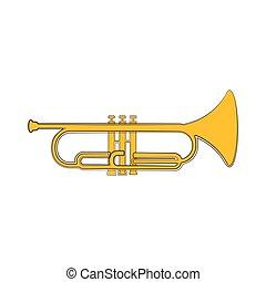 instrument, kornet, sketch., odizolowany, muzyczny