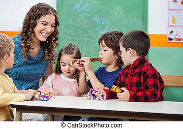 instrument, lärare, musikalisk, barn spela