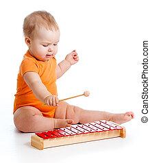 instrument, mały, interpretacja, dziewczyna, muzyczny