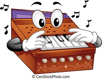 instrument, mascotte, harmonium, muzikalisch