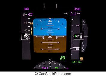 instrument, motorflugzeug, technology:, panel.