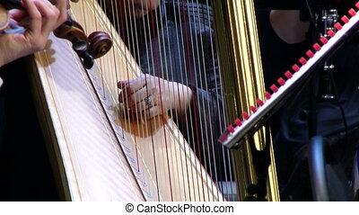 instrument, musical, harpe