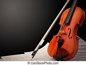instrument musical, ?, violon, et, notes
