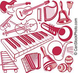 instrument, musikalisk, kollektion