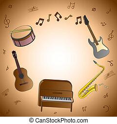 instrument, musikalisk, kort
