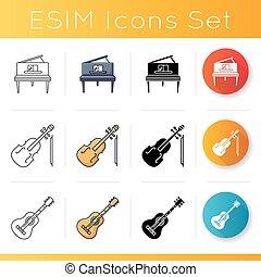 instrument, muzyczny, ikony, komplet, klasyczny