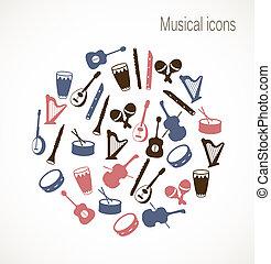 instrument, muzyczny, ikony