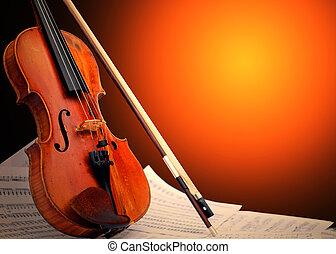instrument, notatki, -, muzyczny, skrzypce