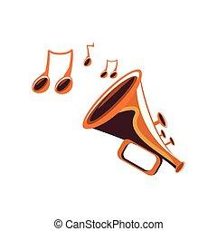 instrument, notatki, trąbka, muzyczny