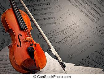 instrument, noteringen, musikalisk, ?, violin