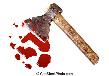 axe - instrument of crime axe in puddle blood, lie in white ...