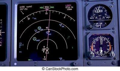 instrument, panel., samolot