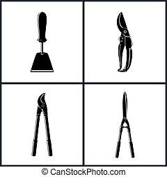 instrument, rolniczy, ikony, komplet
