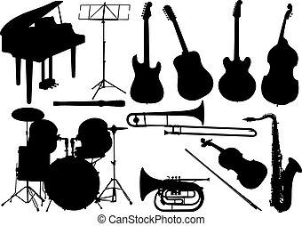 instrument, sätta, -, musik