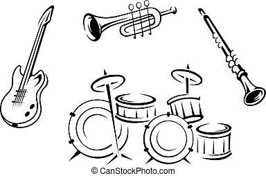 instrument, sätta, musikalisk