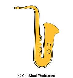 instrument, saksofon, muzyczny, sketch., odizolowany