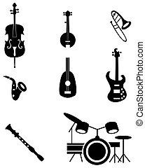 instrument, satz, musikalisches, ikone