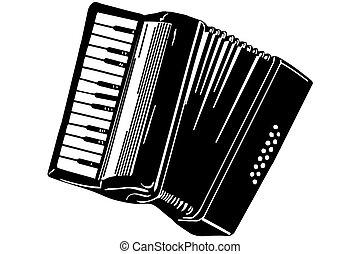 instrument, schets, muzikalisch, accordeon
