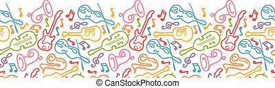 instrument, seamless, mönster, horisontal, gräns, musikalisk