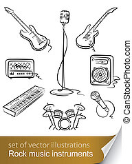 instrument, set, muziek, rots