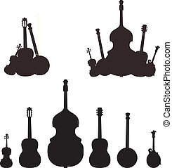 instrument, silhouettes, musikalisk