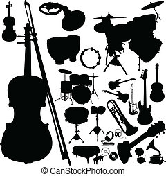 instrument, silhouettes, vector, muziek