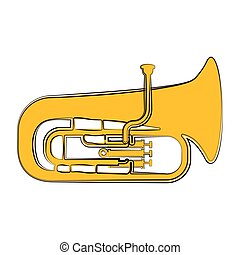 instrument, sketch., muzikalisch, tuba, vrijstaand