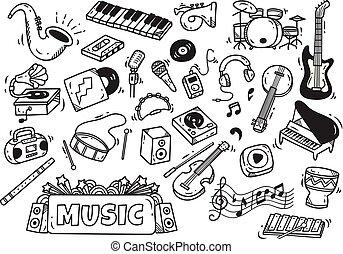 instrument, stil, satz, musik, gekritzel