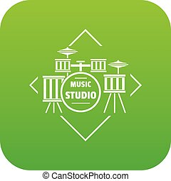 Instrument studio icon green vector