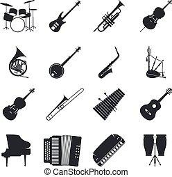 instrument, sylwetka, jazz, muzyczny