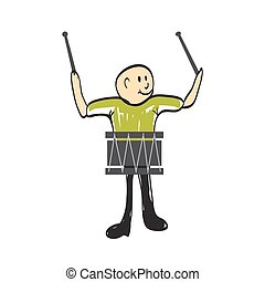 instrument, tambour, musical, illustration, homme