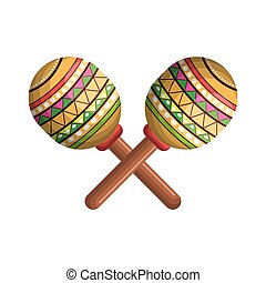 instrument, thème, mexicain, musical, maracas