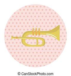 instrument, thema, communie, trompet, spotprent