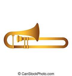 instrument, trombone., muzikalisch, vrijstaand