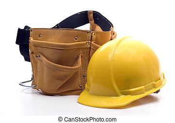 instrument, twardy kapelusz, pasek