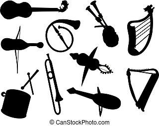 instrument, wektor, muzyczny