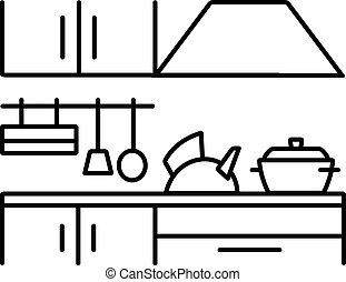 instrument, wektor, sylwetka, kuchnia