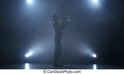 Instrumentalist plays on a trumpet classical melody. Studio...
