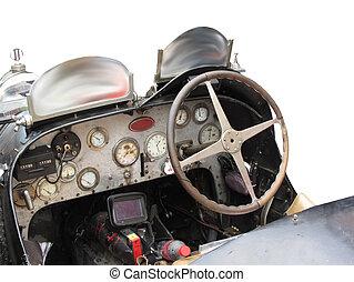 instrumentbræt, og, styre hjul, ind, interior, i, italiensk, klassisk, sport, automobilen, isoleret, på hvide, baggrund