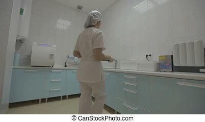 instrumente, medizin, dental, vorbereiten, krankenschwester