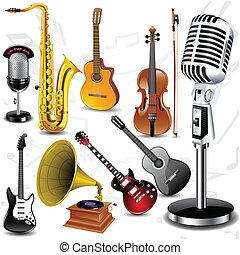 instrumente, vektor, musikalisches