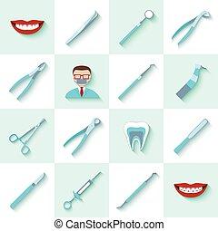 instrumenten, dentaal, set, iconen
