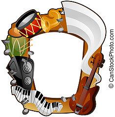 instrumenten, frame, muzikalisch