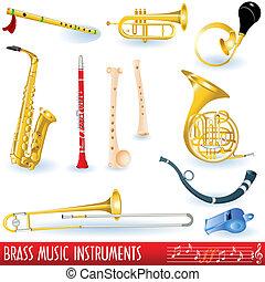 instrumenten, messing, muziek