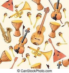 instrumenten, muziek, seamless, model