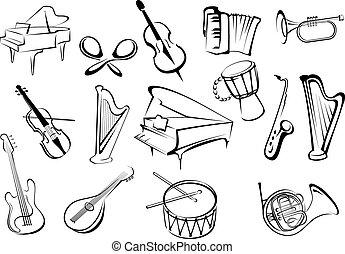 instrumenten, schets, muzikalisch, stijl, iconen