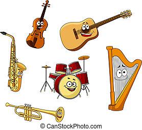 instrumenten, set, muzikalisch, classieke
